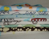 Set of six fun and colorful cotton sherpa and flannel cloth or diaper wipes