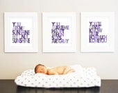 You are my Sunshine Set of 3 - 8x10 -Wall art print - gray and purple - nursery art
