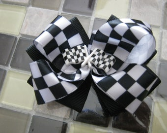 Momma Eva's -- VERY POPULAR / Checkered Flag Winner / Racing Layered Boutique Hair Bow Design //  2.5 inch Style //  Ready To SHiP