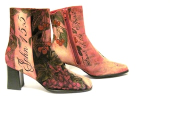 Hand Painted Boots Suede, Chadwicks, Women's Size 7 1/2