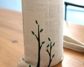 Wine bags set of 6 linen with handpainted patterns