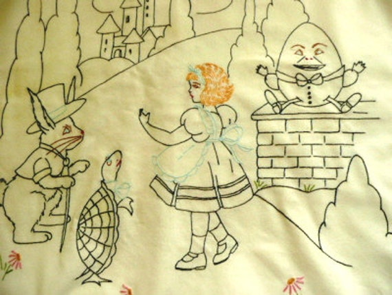 RESERVED Unique and Lovely Vintage Alice in Wonderland Child's Coverlet/Curtain