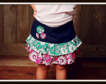 Sewing Pattern Girls Skirt, INSTANT DOWNLOAD, Pdf Pattern for 2 to 8 Yrs, Ruffled Denim Skirt, Kids Sewing Pattern