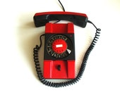 Red rotary telephone, vintage home decor, dial desk phone, red and black phone