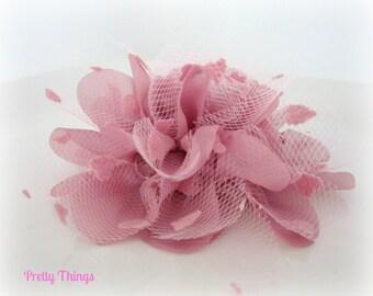Dusty Purple Tulle Flower -- 1 pc