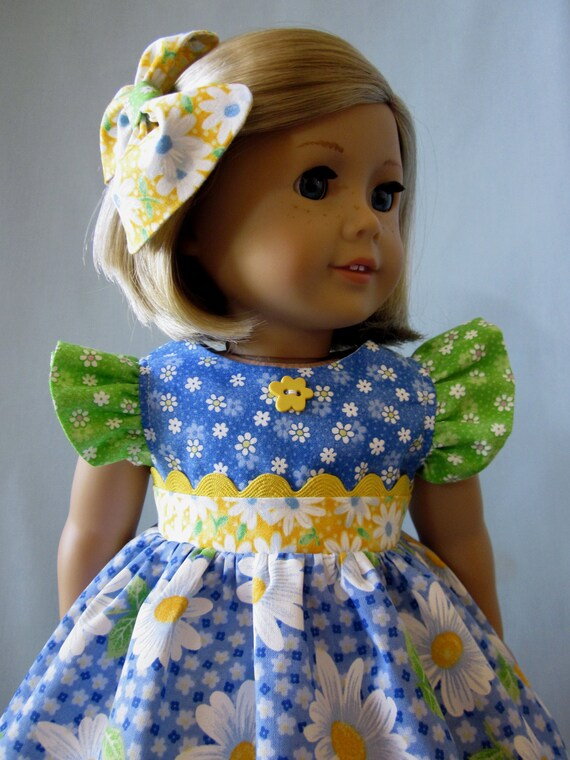 American Girl Clothes - Daisy Dress and Hair Bow (multi-colored)