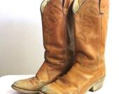 Vintage Blonde Leather Rustic Cowboy Boots Sz 7-7.5