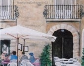 Outdoor cafe scene painting in Italy - European, Siracusa Cafe, patrons enjoying a meal, textured acrylic painting on canvas