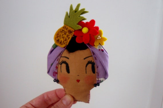 SALE Lady With The Tutti Frutti Hat Brooch. Wearable Art or Decorative Piece. One-of-a-kind.