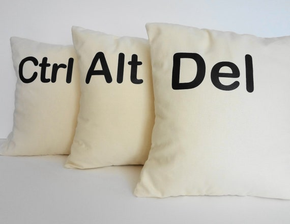 Ctrl - Alt - Del Throw Pillow Covers, Geekery, Geek Decorative Cushion Covers, Two and A Half Men, 14x14