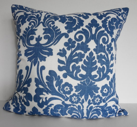 Damask Decorative Pillow Throw Cover, Waverly Fabrics, Essence, Blue and White, 20 x 20, Cushion Cover
