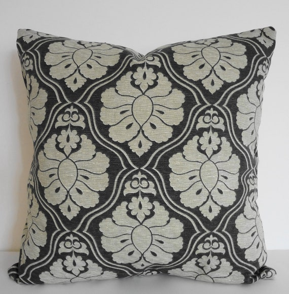 Decorative Grey Pillow Cover, Gray, Olive Green, Accent Pillows, Golding Fabrics, Damask, 16 x 16