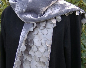 Gray Velvet Scarf Embossed Mosaic Design