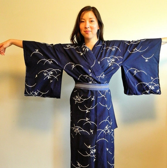 Navy Blue cotton Japanese full Kimono ... caccoon lounge robe