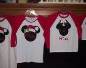 Disney Mickey Minnie Mouse Applique Holiday Santa Rudolf Reindeer T-Shirt Custom Personalized Christmas