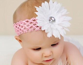 Pink Baby Headband Big Fluffy Daisy Flower Rhinestone Center Crochet Headband Newborn Baby Toddler Infant Girls Photography Prop