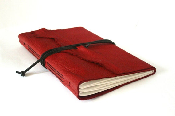 Large Leather Journal, Red Hand-Bound 6 x 9.25 Journal by The Orange Windmill