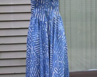 Vintage Karin Stevens for Steven Stoller strapless Sundress sky blue and white print ala 1980s