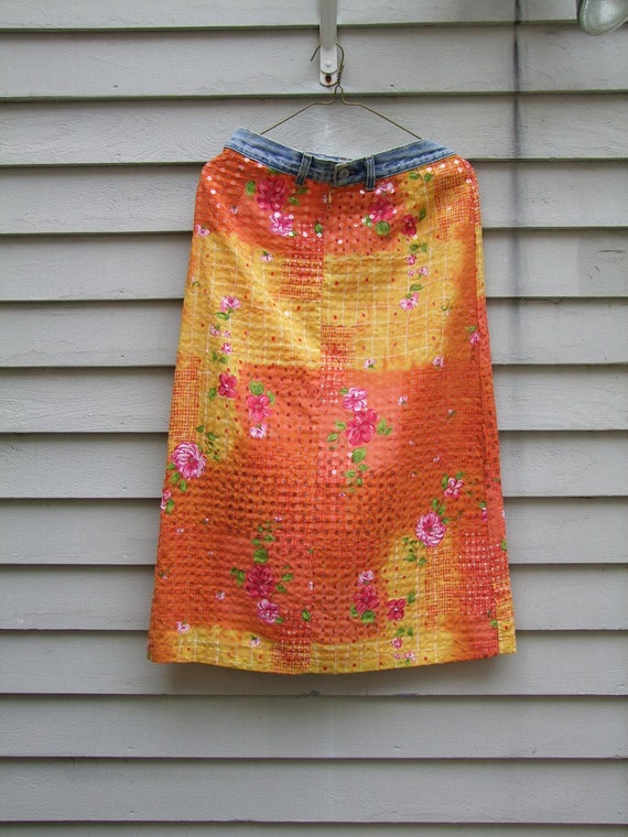 Vintage denim and color block skirt with clear sequints ala 1980s. fully lined