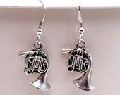 Kitsch 'n' Cute - Tibetan Silver French Horn Silver Plated Hook Earrings