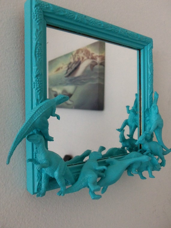 Teal Blue Dinosaur Mirror By Cheesecrafty On Etsy