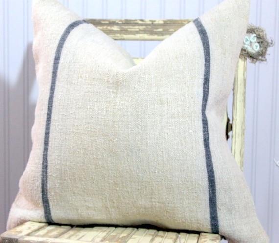 Vintage Grain Sack Decorative Pillow Cover Blue stripes 20 x 20