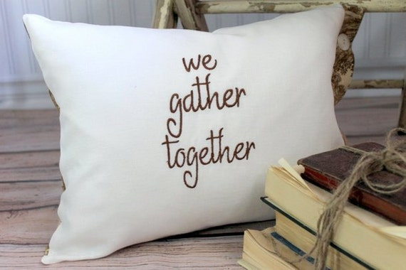 """Fall Thanksgiving Decorative Pillow Cover """"we gather together"""" ivory linen and brown toile 12 x 16"""