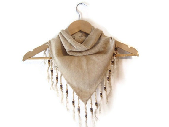 NOS Beige Handmade beaded fringed Bandana style Triangle PRICE REDUCED for the Holidays
