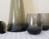 RETRO Mid Century smoke glass decanter, carafe and roly poly glasses