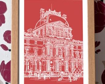 Louvre Museum Poster – Paris Icons Custom Colour A3 Travel Print