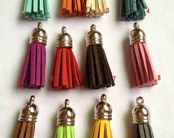 12pcs of Mix Colors Leather Tassel with Silver Caps Bag Charms 39x10mm
