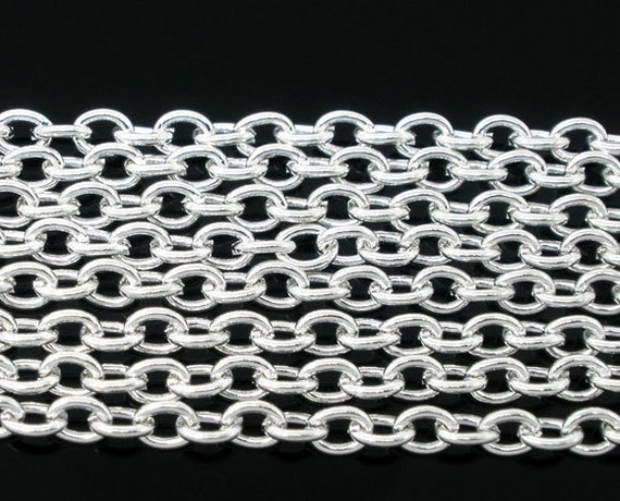 Silver plated Chains -16ft 5 meters Round Cable Link Chain for Necklaces 3x4mm W135-3
