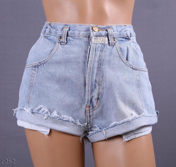 High Waist Denim Shorts / Faded Blue Cutoffs / W 29 / size M