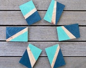 Reclaimed Wood Hand Painted Color Block Magnets (Mint Green and Navy Blue)