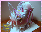 Diaper Cake - Baby Shower Centerpiece - Diaper Carriage - Baby Shower Gift - Girl