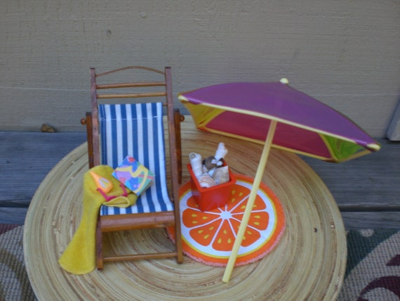 Barbie Doll House BEACH DAY VIGNETTE Room Furniture & Accessories Chair Umbrella Patio