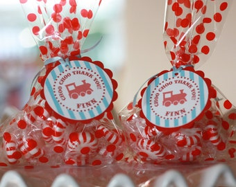 12 Vintage Train Theme Birthday Party or Baby Shower Favor Tags - Party Circles - Free Ship Over 65.00