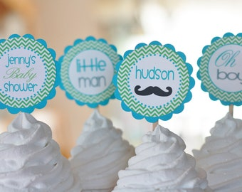 "12 - Little Man ""Oh Boy"" Green Blue Mustache Theme Baby Shower Chevron Cupcake or Cake Toppers - Ask About our Party Pack Sale"
