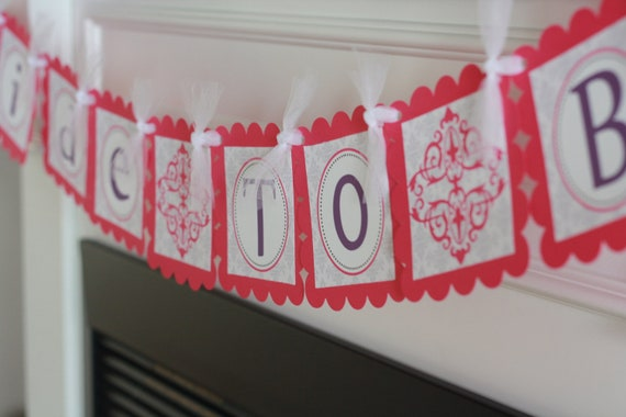 """Damask Scroll Bridal Shower """"Bride to Be"""" or Custom Name Banner - Hot Pink Purple or Choose Colors - Ask about our Party Pack Special"""