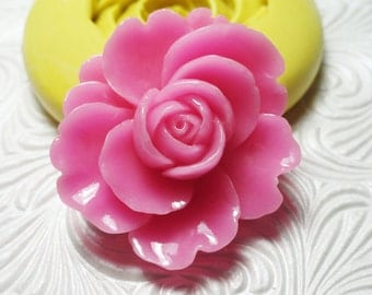 BIG ROSE FLOWER Flexible Silicone Rubber Push Mold for Resin Wax Fondant Polymer Clay Ice