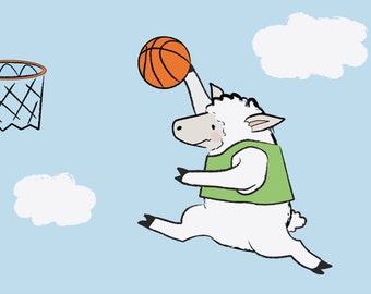 Basketball Children's Bedroom Art - Sheep Baby Nursery Decor Print - Sports Kids Wall Art