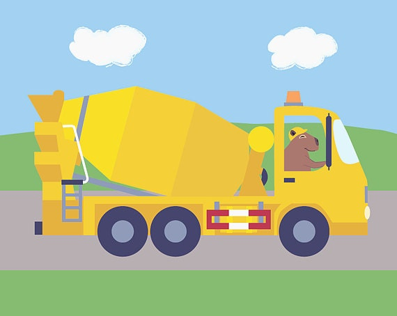 Construction Nursery Decor - Cement Mixer Truck Nursery Art - Capybara