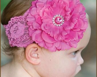 Pink Flower Lace Headband - Pink Baby Headband - Toddler Headband - Wedding Flower