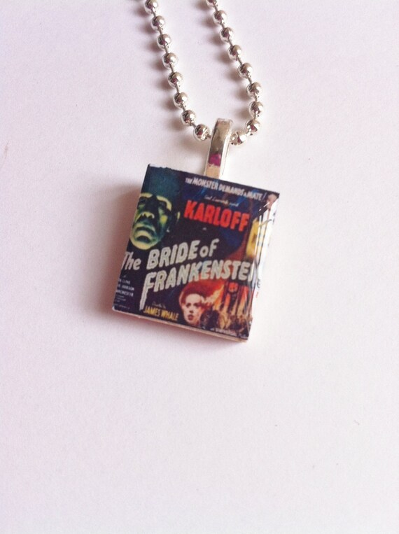 Retro Horror Movie Poster- Scrabble Tile Pendent- Jewelry Necklace