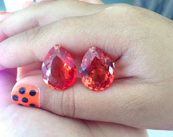 Beautiful pairs orange sapphire labstone drilled