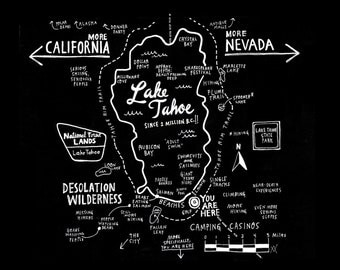 Map of Lake Tahoe Print (for Basecamp Hotel)