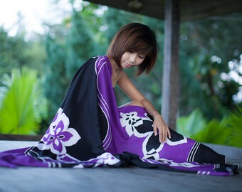 Sarong pareo wrap, floral Beach wear, beachwear, destination wedding bridesmaids favors or gifts, hand painted flowers in purple and black