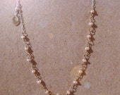 Freshwater Pearl necklace with 14k gold hand stamped charm on sterling chain
