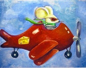 """Kids Room Mouse art embellished art print on paper 6""""x8""""  """" The importance of being cheesy"""""""