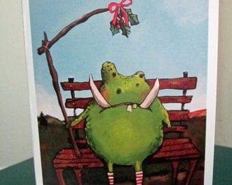 Holiday Christmas cards / Set of 9 monster holiday cards/ Cute funny holiday cards